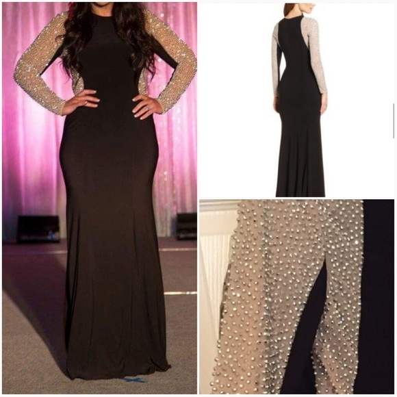 0e0478f7 Xscape black jersey beaded sleeve evening gown. Xscape.  M_5a3424be46aa7c0ab700f25f. M_59d57587c28456ba54006bd7.  M_59d7ca122599fe21280137a0